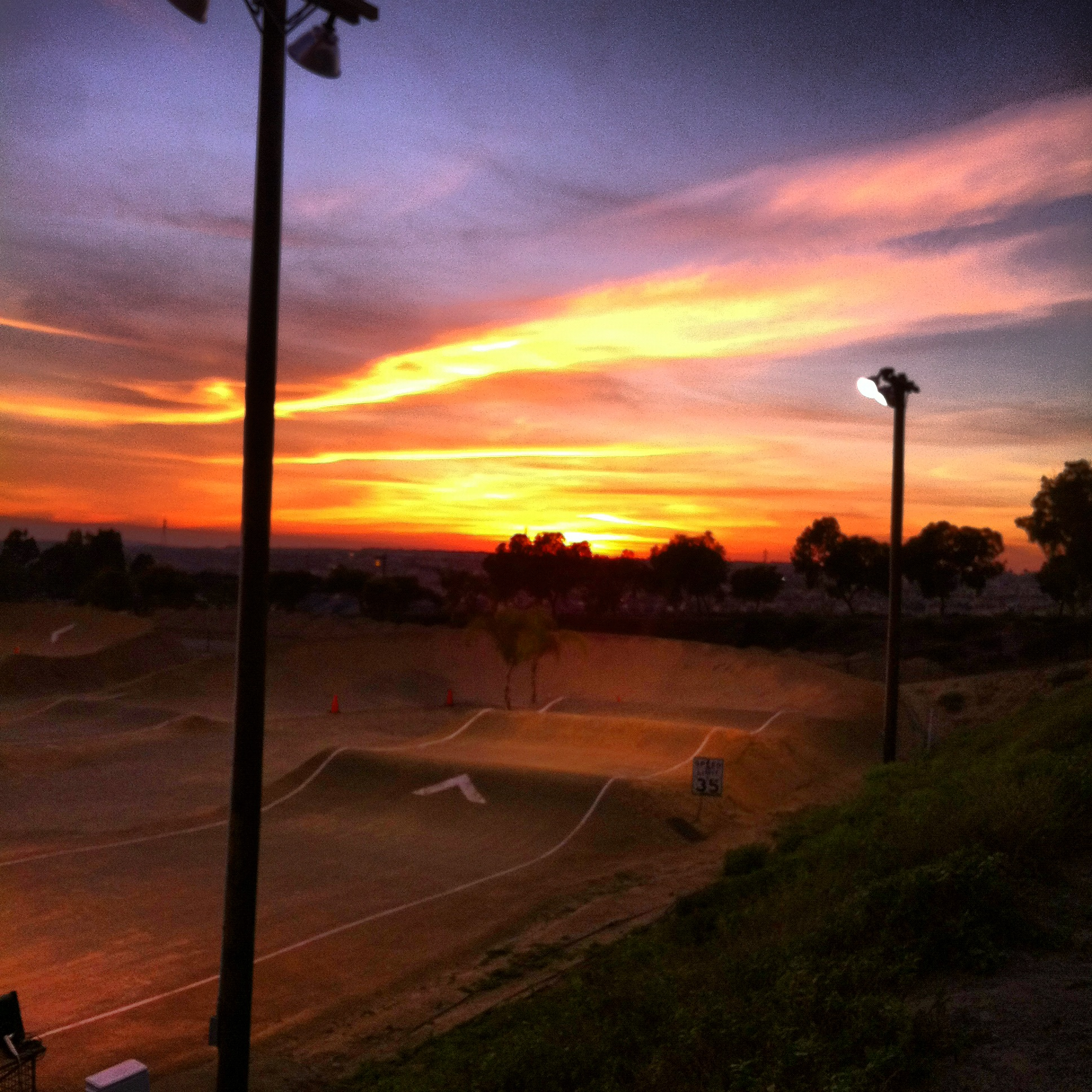 sunset at the track